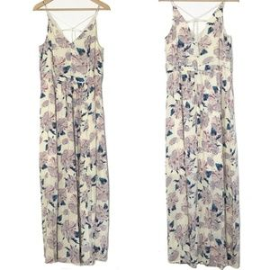 1.State | Floral Maxi Dress Cream Lilac Blue